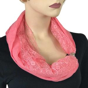 wholesale Magnetic Clasp Scarves (Cotton with Lace) #05 Light Pink -