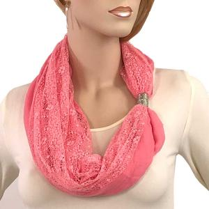 Magnetic Clasp Scarves (Cotton with Lace) #07 Melon -