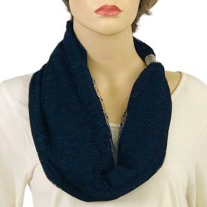 Magnetic Clasp Scarves (Cotton with Lace) #09 Navy -