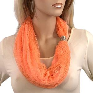 Magnetic Clasp Scarves (Cotton with Lace) #10 Peach -