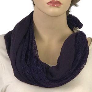 Magnetic Clasp Scarves (Cotton with Lace) #11 Plum -