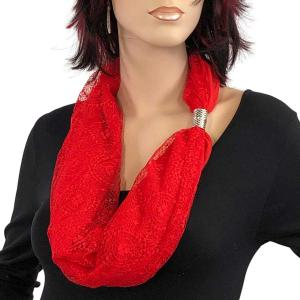 Magnetic Clasp Scarves (Cotton with Lace) #12 Red -