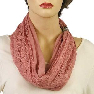 Magnetic Clasp Scarves (Cotton with Lace) #13 Rose -