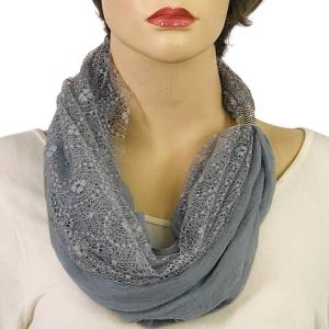 Magnetic Clasp Scarves (Cotton with Lace) #14 Silver -