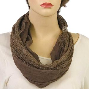 Magnetic Clasp Scarves (Cotton with Lace) #16 Taupe -