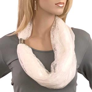Magnetic Clasp Scarves (Cotton with Lace) #17 White -