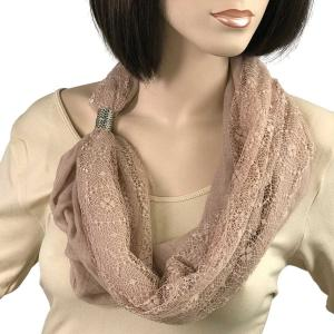 Magnetic Clasp Scarves (Cotton with Lace) #23 Wilmington Tan -