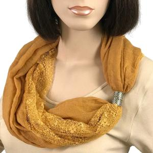 Magnetic Clasp Scarves (Cotton with Lace) #21 Brass -