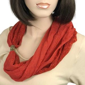 Magnetic Clasp Scarves (Cotton with Lace) #22 Brick -