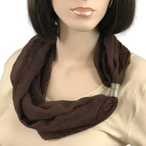 wholesale Magnetic Clasp Scarves (Cotton with Lace) #25 Dark Brown -