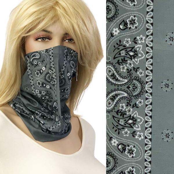 wholesale Protective Masks - Gaiters 1C21 Grey Bandana Gaiter -