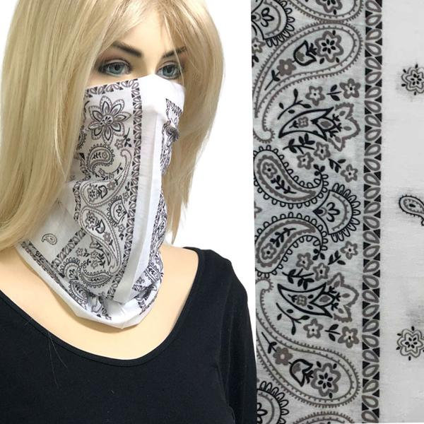 wholesale Protective Masks - Gaiters 1C21 White Bandana Gaiter -