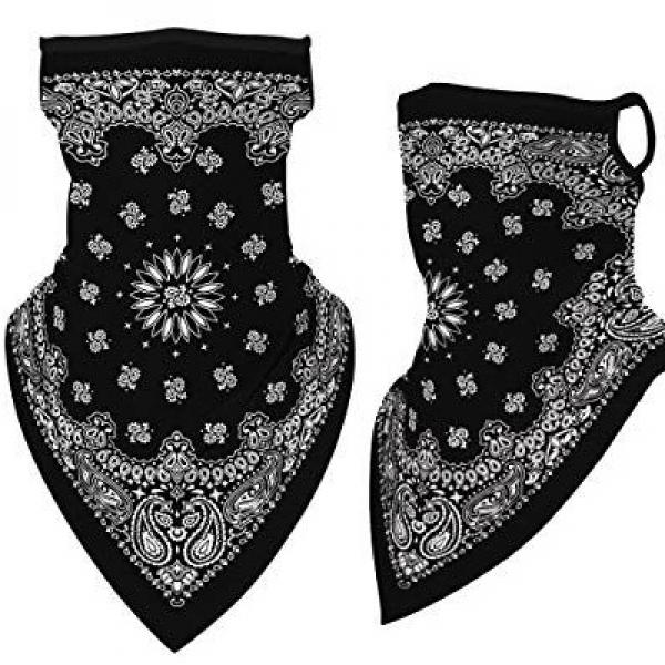 wholesale Protective Masks - Gaiters #4 Black Bandana with Earloops Gaiter -