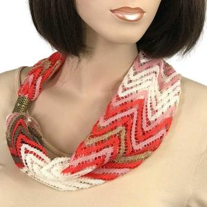 Magnetic Clasp Scarves (Chevron Lace) #01 Pink/White/Taupe -