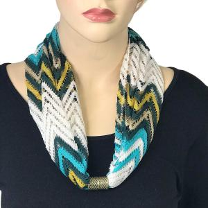 Magnetic Clasp Scarves (Chevron Lace) #02 Turquoise/White/Gold -