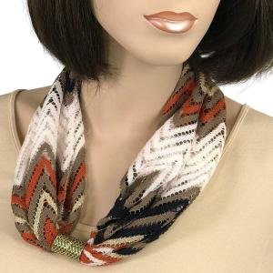 Magnetic Clasp Scarves (Chevron Lace) #03 Rust/White/Taupe/Black -