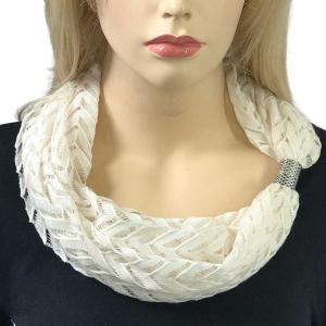 wholesale Magnetic Clasp Scarves (Chevron Lace) #05 Ivory -