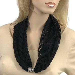Magnetic Clasp Scarves (Chevron Lace) #04 Black -