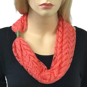wholesale Magnetic Clasp Scarves (Chevron Lace) #07 Coral -