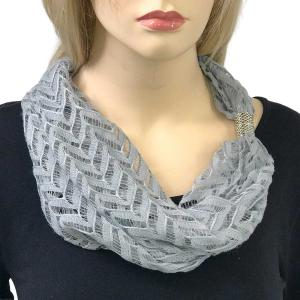 wholesale Magnetic Clasp Scarves (Chevron Lace) #09 Silver -