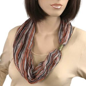 Magnetic Clasp Scarves (Crinkled Stripes 1009) #03 Orange Multi -