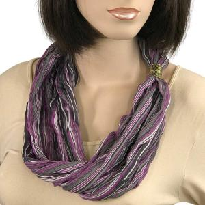 Magnetic Clasp Scarves (Crinkled Stripes 1009) #04 Purple Multi -