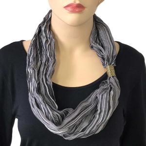 Magnetic Clasp Scarves (Crinkled Stripes 1009) #01 Black Multi -