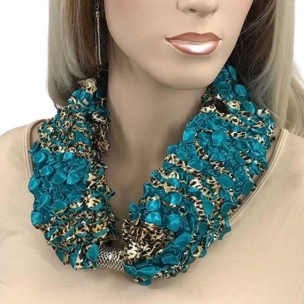 wholesale Magnetic Clasp Scarves - Coin + Bubble Satin  #03 ANIMAL ABSTRACT TEAL Coin Magnetic Clasp Scarf -