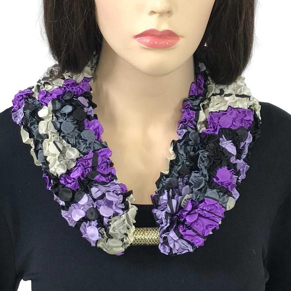 wholesale Magnetic Clasp Scarves - Coin + Bubble Satin  #09 PURPLE POP ART Coin Magnetic Clasp Scarf -