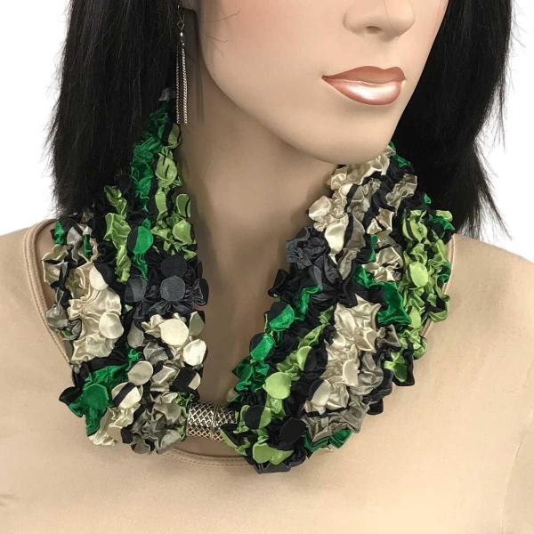 wholesale Magnetic Clasp Scarves - Coin + Bubble Satin  #10 GREEN POP ART Coin Magnetic Clasp Scarf -