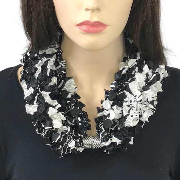 wholesale Magnetic Clasp Scarves - Coin + Bubble Satin  #11 BLACK AND WHITE FLORAL Coin Magnetic Clasp Scarf -
