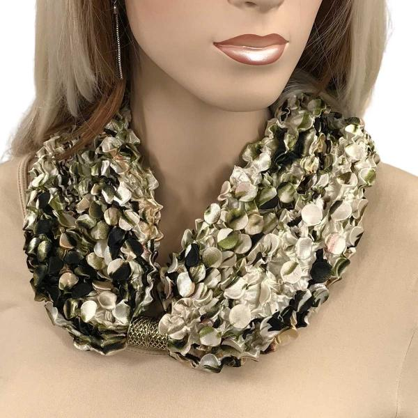 wholesale Magnetic Clasp Scarves - Coin + Bubble Satin  #14 ANIMAL PRINT OLIVE Coin Magnetic Clasp Scarf -