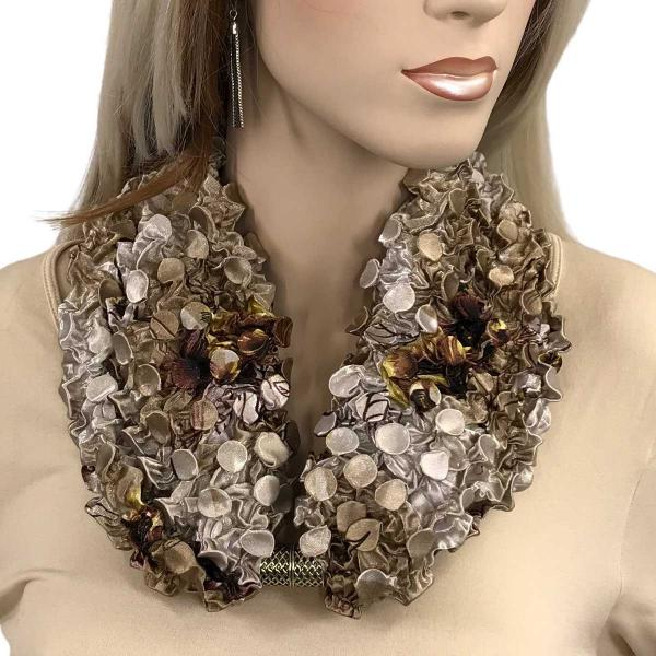 wholesale Magnetic Clasp Scarves - Coin + Bubble Satin  #99 Beige Floral Coin Magnetic Clasp Scarf -