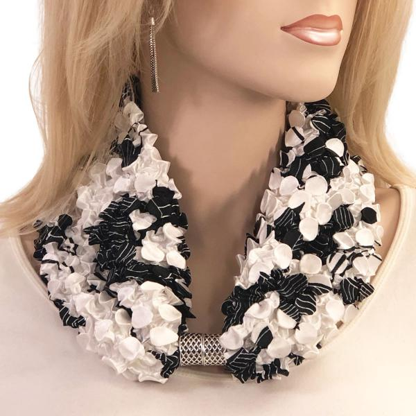 wholesale Magnetic Clasp Scarves - Coin + Bubble Satin  #16 AFRICAN BLACK AND WHITE Coin Magnetic Clasp Scarf -