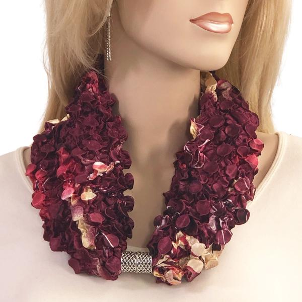 wholesale Magnetic Clasp Scarves - Coin + Bubble Satin  #17 ROSE FLORAL BERRY Coin Magnetic Clasp Scarf -
