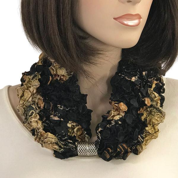 wholesale Magnetic Clasp Scarves - Coin + Bubble Satin  #20 BLACK with GOLD LEAVES Coin Magnetic Clasp Scarf -