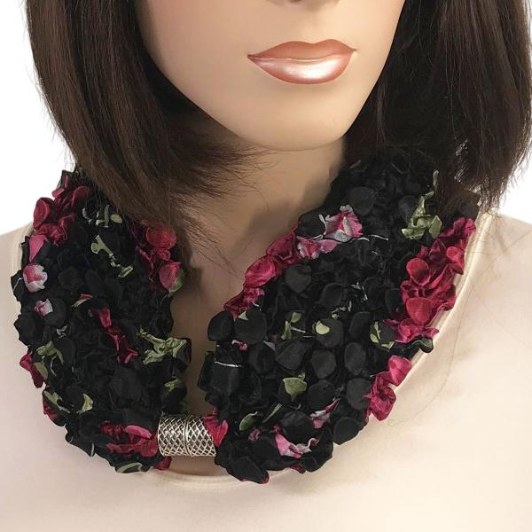 wholesale Magnetic Clasp Scarves - Coin + Bubble Satin  #21 BLACK with ROSES Coin Magnetic Clasp Scarf -