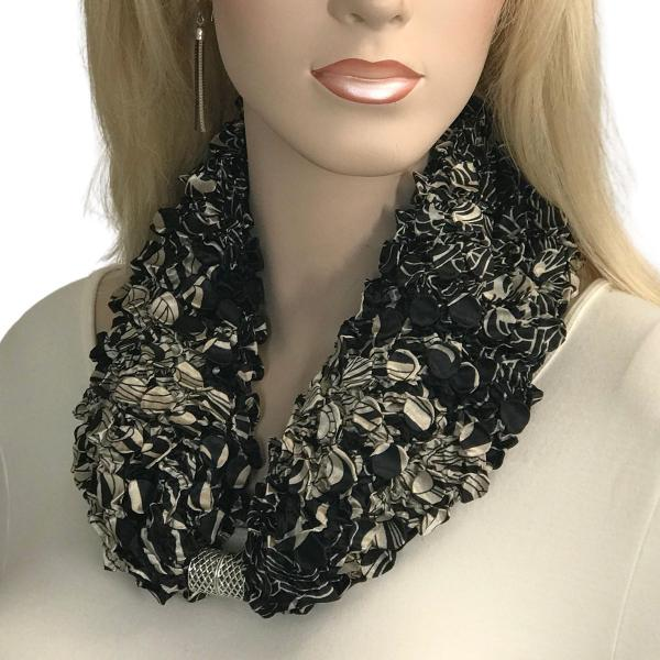 wholesale Magnetic Clasp Scarves - Coin + Bubble Satin  #22 ABSTRACT FLOWERS BLACK AND TAN Coin Magnetic Clasp Scarf -