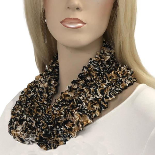 wholesale Magnetic Clasp Scarves - Coin + Bubble Satin  #27 LEOPARD Magnetic Clasp Scarf - Bubble Satin -