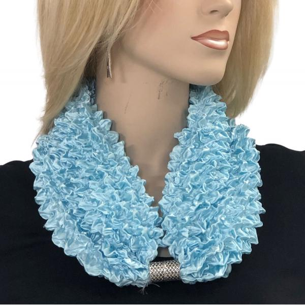 wholesale Magnetic Clasp Scarves - Coin + Bubble Satin  #35 SKY BLUE Magnetic Clasp Scarf - Bubble Satin -