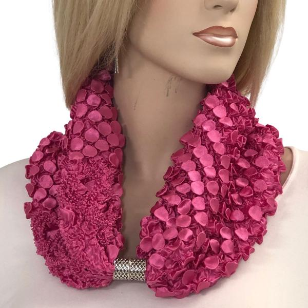 wholesale Magnetic Clasp Scarves - Coin + Bubble Satin  MAGENTA Coin Fishscale Satin Magnetic Clasp Scarf    -