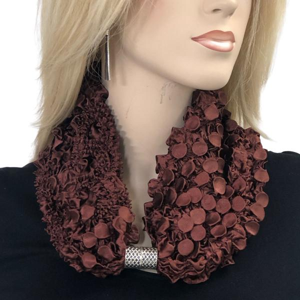 wholesale Magnetic Clasp Scarves - Coin + Bubble Satin  BROWN Coin Fishscale Satin Magnetic Clasp Scarf  -