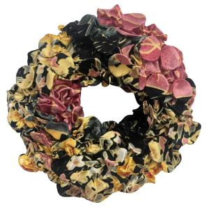 wholesale Satin (Jelly Donut) Coin Scrunchies #06 Victorian Floral -