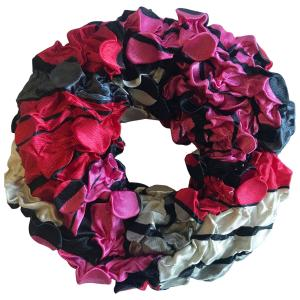 wholesale Satin (Jelly Donut) Coin Scrunchies #08 Hot Pink Pop Art -