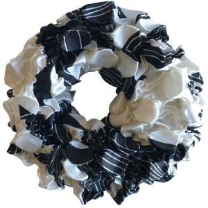 wholesale Satin (Jelly Donut) Coin Scrunchies #20 African White/Black -