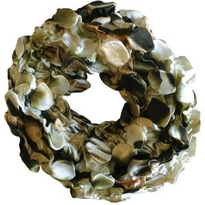 wholesale Satin (Jelly Donut) Coin Scrunchies #14 Animal Print Olive -