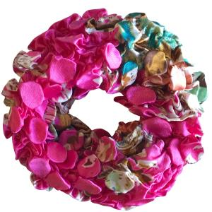 wholesale Satin (Jelly Donut) Coin Scrunchies #13 Pink Floral -