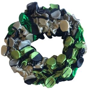 wholesale Satin (Jelly Donut) Coin Scrunchies #10 Green Pop Art -