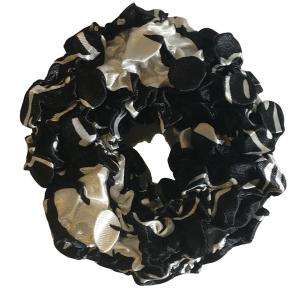 wholesale Satin (Jelly Donut) Coin Scrunchies #29 African Black White -