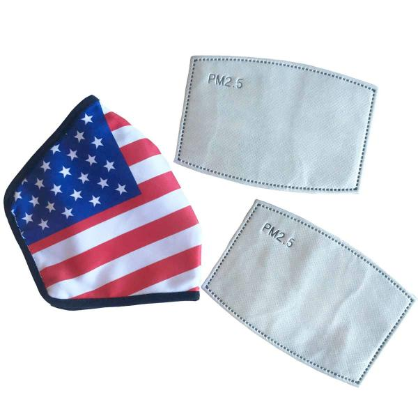 Wholesale American Flag Kimono Vests American Flag (Satin Polyester) w/ Two PM25 Filters - One Size Fits All